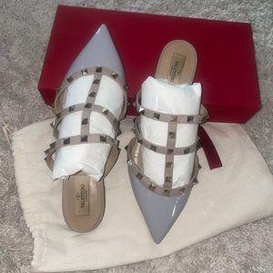 Valentino patent stud mules
